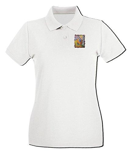 Cotton Island - Polo pour femme TDA0062 van gogh14 il buon samaritano Blanc