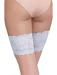 da67182528504 Ladies Bridal Natural Blue Hold Ups Silicon Strip Floral Lace Band Hosiery  Plus Size Wedding XS