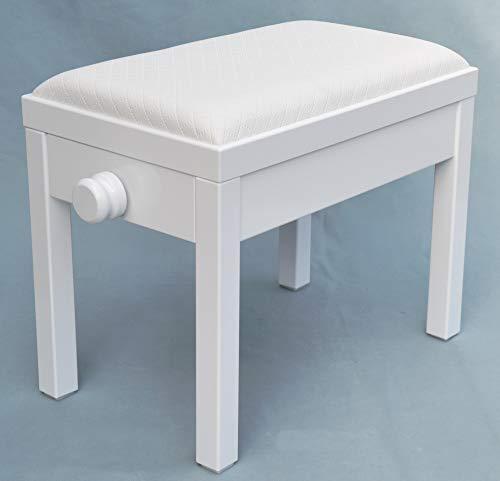 Bestseller! Neuer Preis nur bis Ende Oktober! KX Music Klavier-Sitzbank in weiß (matt), Klaviersitz mit Sitzbezug aus weißem Kunstleder (kariert) 56 x 35, Modell: S.04.11.23