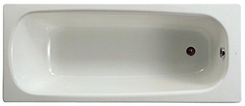 Baignoire CONTESA 160x70cm, en acier émaillé (épaisseur 1,5mm), bord plat, non percé, avec pieds métal à visser, fond li