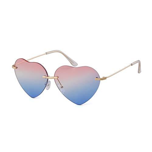 (ADEWU mädchen in herz - form ozean farbe rimless strand sonnenbrille 62 * 18 * 135 23g Rosa und blau)