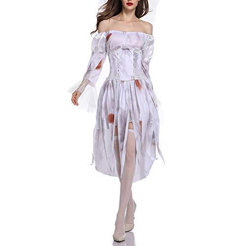Halloween Ghost Braut Hölle Gott Zombie Weißes Kleid Cosplay Terror Evil Uniform,White,L