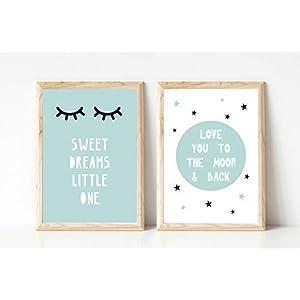 Kinderposter Kinderzimmerbild 2er-Set Sweet Dreams mit schlafenden Augen und Mond mit Spruch To the Moon and back Mint- Kinderzimmer Wandbild ungerahmt