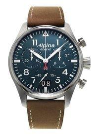 Alpina Alpina Startimer Pilot Chronograph Blau Zifferblatt Brown Leder Mens Watch AL-372N4S6