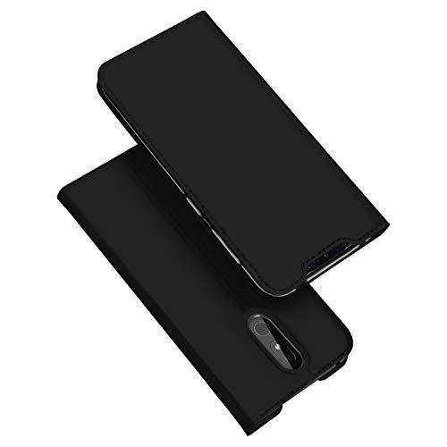 DUX DUCIS Hülle für Nokia 3.2, Leder Flip Handyhülle Schutzhülle Tasche Case mit [Kartenfach] [Standfunktion] [Magnetverschluss] für Nokia 3.2 (Schwarz)
