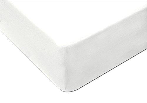 MODHAUS Spannbettlaken Betttuch Jersey Bettlaken Ecru (150-160x200, weiß) -