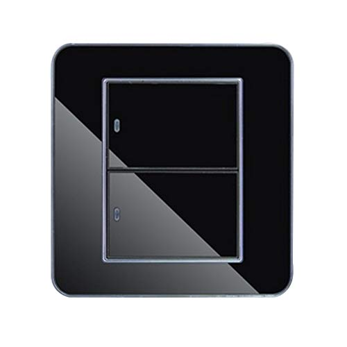Panel de Espejo de Cristal Negro 2 Gang 1 Vía de Cristal...