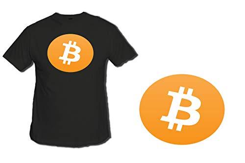 MERCHANDMANIA Camiseta Negra SIMBOLO Bitcoin Moneda Virtual Tshirt Custom