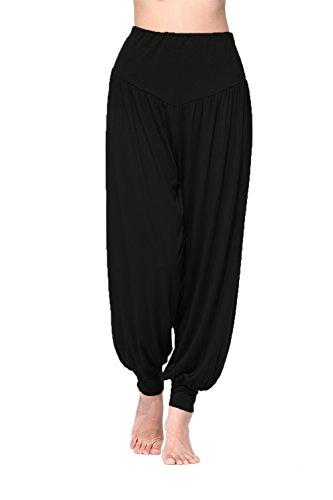 BeautyWill Haremshose/Yogahose/Jogginghose/Yoga Pilates Hosen/Yoga pants Hose für Damen - für Sport und Training aus 95% Modal L, Schwarz (Schwarze Damen-yoga-hose)