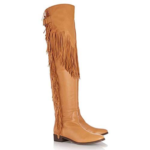 Xiaodun77 Damen Overknee Lederstiefel Stretch Calf Large Size Quasten Hohe Schuhe Damen Kniehohe beiläufige Pull On für Party Nigh Verein,Braun,36 (Breites Boot Ultra Kalb)