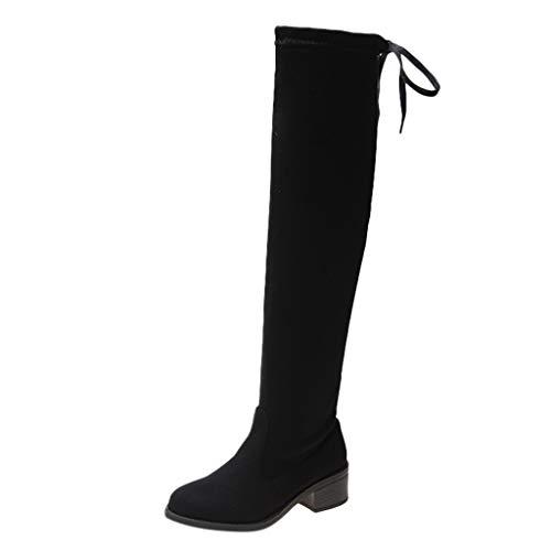 Dasongff Damen Schuhe, Damen Stiefel Stretch Slim Stiefeletten Plus Samt Kniestiefel Reißverschluss Wohnungen Tall Tube Stretch Langschaft Boots Schuhe (EU:38, Schwarz) -