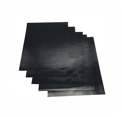OSVINO 5 Stücke Grillmatte Unterlage BBQ Teflon antihaft Camping für Balkon Grill Backofen 40 x 30cm, Schwarz 40 x 30cm