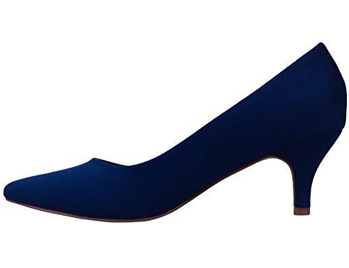 Greatonu -Escarpins Femme -Mi Talon Eu 36-41 (Un Peu Grand) Bleu