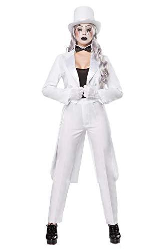 Unbekannt Damen Pantomime Kostüm Verkleidung mit Top Hose und Fliege mit Frack, Hut und Handschuhe (Weißes Top Hut Kostüm)