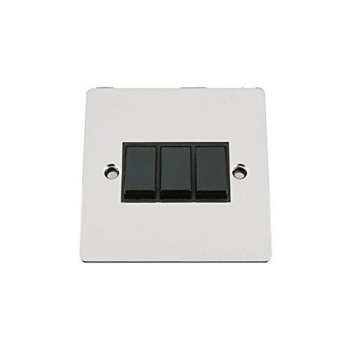 Poliert Chrom-drei-leuchte (A5swi3gcfbl 10A Lichtschalter 3-Fach 2-Wege-Triple Leuchte Chrom poliert flach Schalter mit Kunststoff schwarz Einsatz)