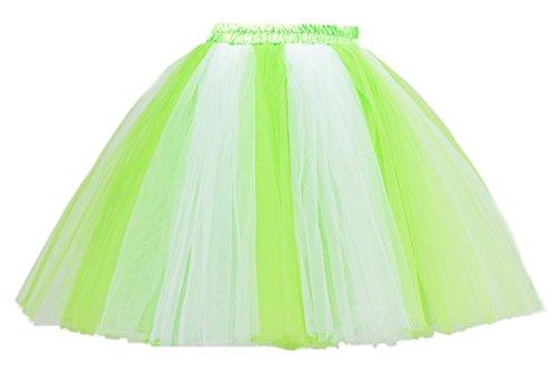 Honeystore Damen's Mini Tutu Ballett Mehrschichtige Rüschen Unterkleid Zitrone Weiß