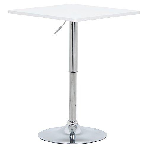 WOLTU BT03ws Tavoli da Bar Tavolino Cucina Robusto MDF Cromato Altezza Regolabile Girevole Moderni Bianco Set 1