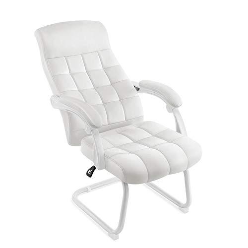 Stühle CJC Bürostühle Ergonomisch PU Hoher Rücken Lordosenstütze 155° Tilt Atmungsaktives Schaumkissen Stahlbasis (Farbe : Weiß)