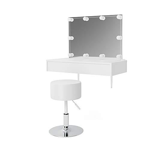 Vicco Schminktisch Alessia Weiß wandhängend mit Hocker und LED-Beleuchtung - Frisiertisch Kommode Spiegel +++ Schminkkommode mit großen Schubfächer und riesigen Spiegel +++ (mit Bank)