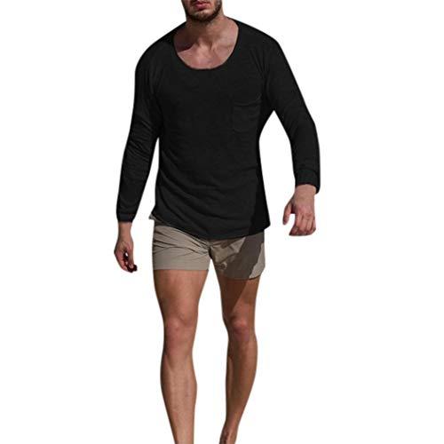 Paolian T-Shirt à Manches Longues de Couleur Unie à Manches Longues col Rond, à la Mode Automne et Hiver pour Homme