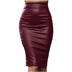 Andopa Otoño Invierno, además de terciopelo de cuero atractivo ajustado de la falda corta para Mujeres XS 1