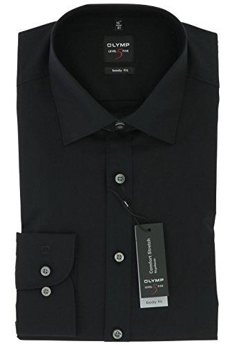 Stretch-baumwolle Hemd (OLYMP Level 5 Body Fit Hemd Langarm Popeline Stretch- Gr. 45 (XXL), Schwarz)