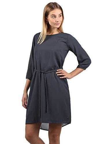 BlendShe Beate Damen Blusenkleid Lange Bluse Kleid Mit Rundhalsausschnitt, Größe:S, Farbe:Ebony Grey (75111)