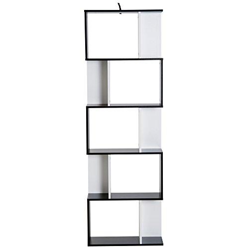 Homcom Libreria da Muro Moderna 5 Ripiani in Legno Bianco e Nero, 60x24x1184.5cm