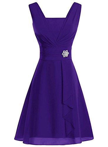 AZBRO Damen Elegant Trägerloses Samt Metall-Gürtel Prom Kleid Purple