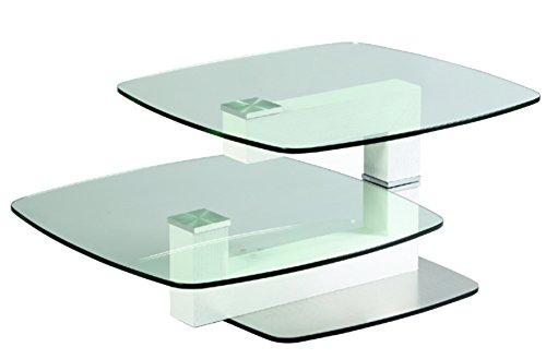 PEGANE Table Basse relevable en Verre trempé et MDF - Dim : L 146 x P 69 x Ht 44 cm