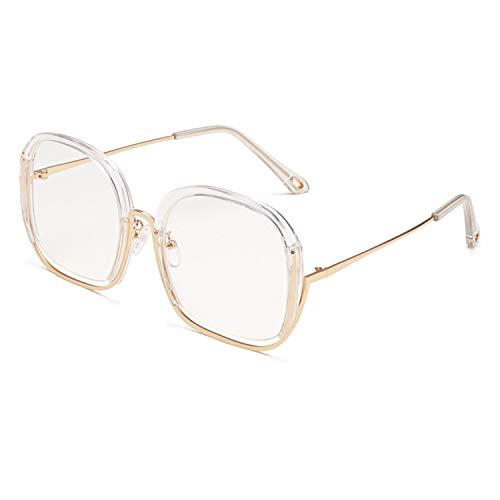 FIRM-CASE Klassisches quadratisches Metall Sonnenbrillen Männer Frauen Retro Siamese hohler großer Rahmen der Sun-Glas-Mode-Rahmen Eyewear, 4