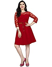 Sabaira American Crepe Fabric Red Color 3/4Th Sleeve Fully Stitched Dress (SBRWD22_S_ Western Dress)