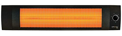 OPRANIC PRO - LAVA Infrarot Heizstrahler, 2000 Watt, Thermostat, Spritzwassergeschützt IPX4, Infrarotstrahler, Perlschwarz, Infrarotstrahler Terrasse, Hochleistungs Terrassenstrahler Elektrisch