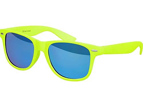 Balinco Hochwertige Nerd Sonnenbrille Rubber im Wayfarer Stil Retro Vintage Unisex Brille mit Federscharnier - 96 verschiedene Farben/Modelle wählbar (Neongelb - Blau verspiegelt)
