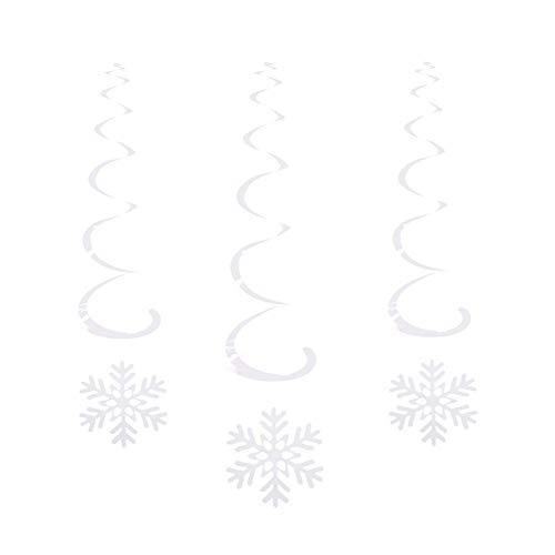 Hemore 6 piezas de copos de nieve colgantes Swirls copo de nieve decoraciones para fiestas temáticas de Frozen y Navidad invierno vacaciones fiesta papelería de plata suministros de oficina