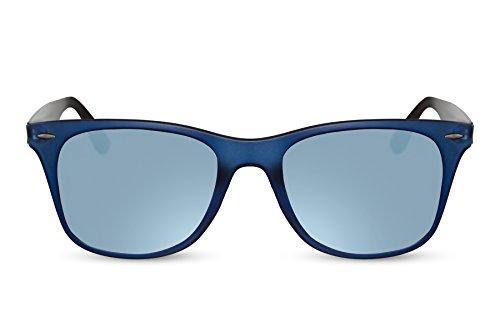 Cheapass Sonnenbrille Eckig Schwarz Blau Verspiegelt UV-400 Klassisch-Cool Designer-Brille Plastik Damen Herren