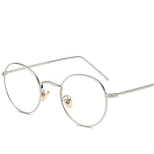 XXY Gläser Runde Sonnenbrille Runde Sonnenbrille Runde Mode Runde Brille UV Cut Leichter Kreuz & Brillenetui unisex (Color : Silber, Size : Kostenlos)