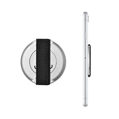Loopgrip 360° Smartphone Fingerhalterung Silber Handy Halterung Halter für iPhone, Finger Grip Samsung Galaxy, Fingerhalter Smartphone Silver