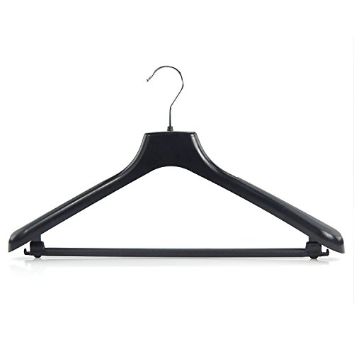 Hangerworld - 10 Perchas de Plástico Negro para Trajes - 46 cm
