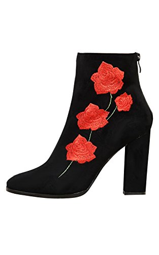 Women's Ladies Stunning Faux Suede Floral Print Glam Heeled Boots Black