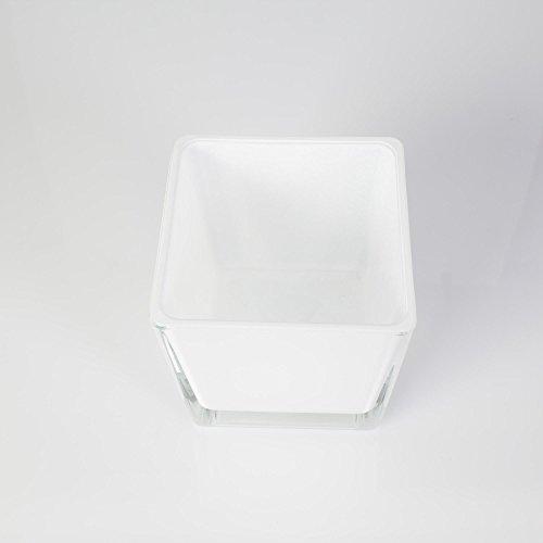 Cuadrado portavelas de cristal KIM, blanco, 10 x 10 x 10 cm - Farol de vidrio / Vaso decorativo - INNA Glas