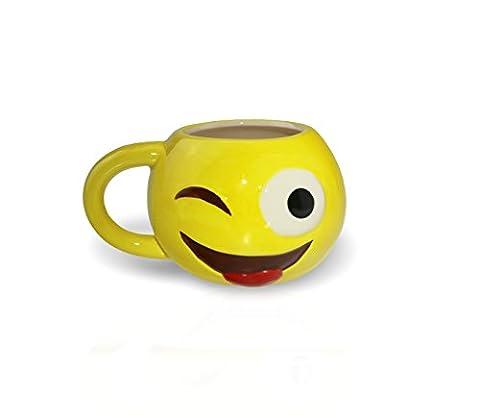Original Smiley Tassen von Senfine - handbemalte EMOJI Kaffeetassen - im Whatsapp Design (Zunge)