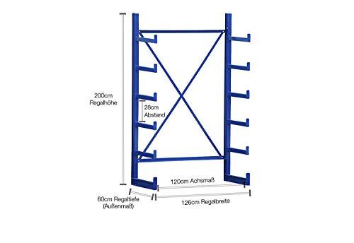 Kragarmregal Langgutregal einseitig H:2m, B:1,3m, 5 Ebenen, 1.250kg Ständerlast, Breiten von 1,3-6,1m