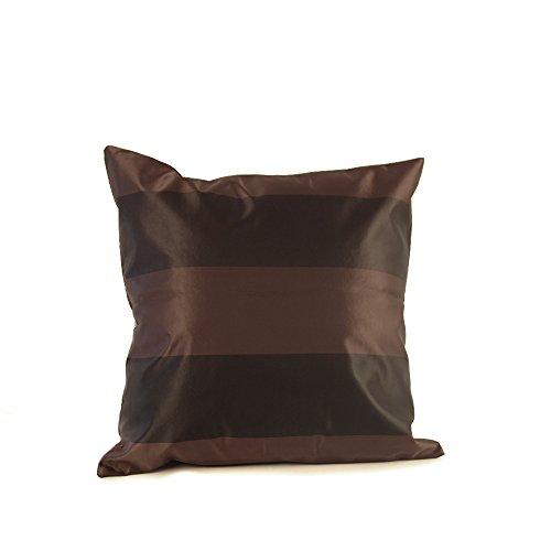 2x Schokolade Schwarz Luxus Lamour Satin gestreift Kissenbezug 45cm x 45cm Home Decor - Satin Kissenbezug Schokolade