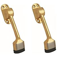 """SHAKS TRADERS GS Solid Brass Door Stopper 5"""" with Free Screws (2 Pieces)"""