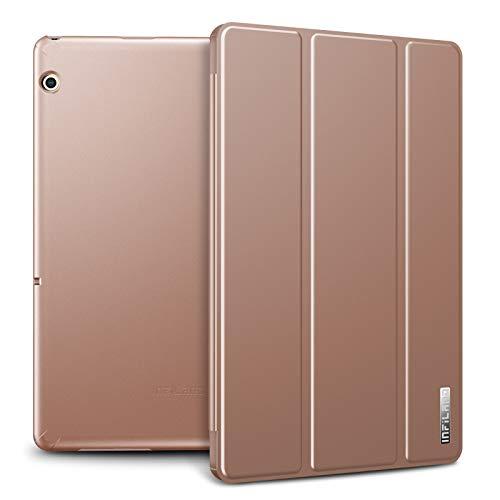 Infiland Huawei MediaPad T5 10 Hülle Case, Slim Ultraleicht PC Shell Schutzhülle Cover für Huawei MediaPad T5 10 10.1 Zoll 2018 Tablet PC,Rosa Goldene