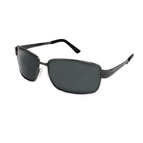 Rectangle Grau Metall Vollrand Rahmen Fahren polarisierten Sonnenbrillen Unisex