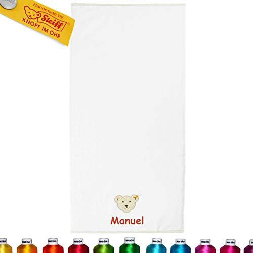 LALALO Steiff Kinder & Baby Bade Handtuch Bestickt mit Namen, Frottee Kinderhandtuch personalisiert, Zierkante, Mädchen & Junge, Weiß (50x100 cm)