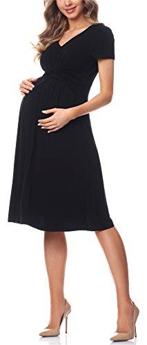Be Mammy Damen Umstandskleid Maternity Schwangerschaftskleid BE20-223 (Schwarz, XXL)