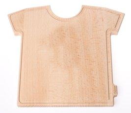Festland DESIGN® - Für außergewöhnlichen Genuss - T-Board - Originelles Frühstücksbrettchen aus Holz im T-Shirt Design - Holzbrett Buche unbehandelt - Schneidebrett mit umlaufender Krümelrille - Größe 24 x 20 x 1,5 cm